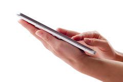 Holding touch screen tablet Stock Photo