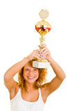 Holding a trophy Stock Photography