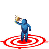 Holding trophy on the target icon Stock Photo