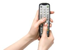 Holding TV Remote Control Stock Photography