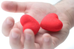 Holding two hearts Royalty Free Stock Photography