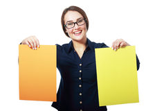 Holding two yellow paper cards Stock Image