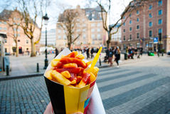 Holding typical belgian fries in hand in Brussels. Holding trypical belgian fries in hand in the streets of Brussels royalty free stock images