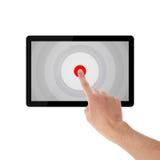 Holding und Punkt auf Tablet-PC Lizenzfreies Stockbild