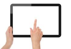 Holding und Punkt auf Tablette PC Stockbilder
