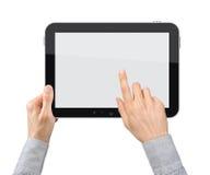 Holding und Punkt auf Tablette PC lizenzfreie abbildung