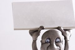 Holding up blank business card. Isolated holding up blank business card stock photo