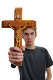 Holding up Crucifix Royalty Free Stock Photos