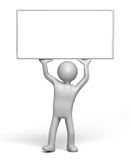 Holding up empty Sign board. 3D character holding up empty signboard (with Clipping Path Royalty Free Stock Photo