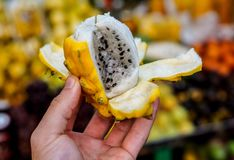 Dragon Fruit in Colombia. Holding up an open Dragon Fruit Pitahaya in the Paloquemao Market, Colombia royalty free stock photos