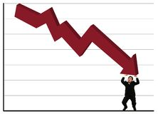 Holding Up Red Stock Chart Stock Photo