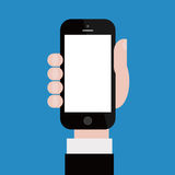 Holding up Smartphone. Vector illustration of Businessman holding up smartphone with blue background. White blank screen Stock Photography