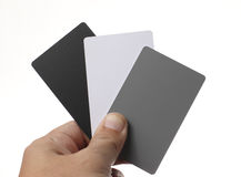 Holding White balance Cards Royalty Free Stock Images