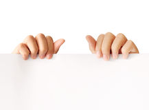 Holding white board Royalty Free Stock Image
