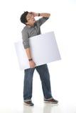 Holding White Board modelo Foto de Stock Royalty Free