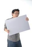 Holding White Board modelo Fotos de Stock