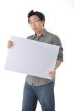 Holding White Board modelo Imagens de Stock Royalty Free