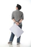 Holding White Board modelo Imagens de Stock