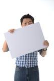 Holding White Board modelo Imagem de Stock Royalty Free