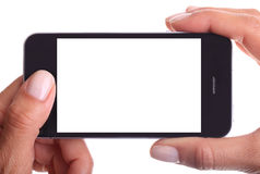 Holding white screen smart phone Royalty Free Stock Photography