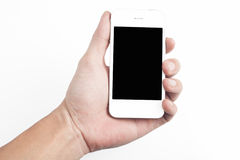 Holding white  smart phone Royalty Free Stock Photography