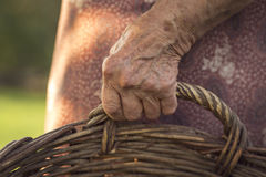 Holding a wicker basket. Detail of an elderly woman holding a wicker basket. Selective focus Royalty Free Stock Images