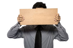 Holding Wooden Board Stock Photo