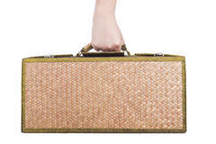 Holding wooden luggage rattan isolated on white background. Stock Images