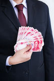 Holding Yuan or RMB, Chinese Currency Stock Image
