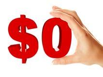 Holding zero del segno del dollaro dalla mano femminile Immagine Stock