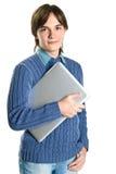 holdingbärbar datorman Arkivfoton