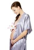 Holdingbauch und -blume der schwangeren Frau Lizenzfreie Stockbilder