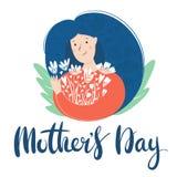 Holdingblumen der jungen Frau Tag der Muttertagkarte oder der internationalen Frauen, Text beschriftend stock abbildung