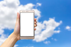 holdingen för bakgrundsgrupphanden bemärker smartphone Fotografering för Bildbyråer