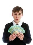 Holdinggeld des Kursteilnehmers oder der jungen Arbeitskraft Stockfotografie
