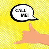 Black silhouette of hand gesture CALL ME with speech bubble. Simple flat design vector icon vector illustration