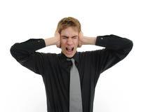 Holdinghände auf Ohren Lizenzfreies Stockfoto