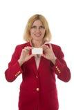 holdingkvinna för blankt kort 2 Royaltyfria Foton