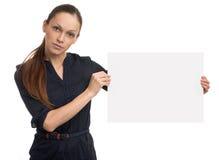 holdingkvinna för blankt kort Arkivfoto