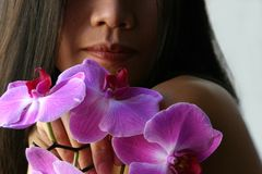 holdingorchids Royaltyfri Bild