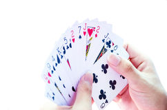 Holdings Cards. For playing card game Stock Photography