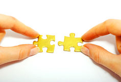 Holdings gold puzzle Stock Photos