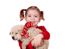 Holdingwelpe des kleinen Mädchens lizenzfreie stockbilder