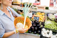 Holdnig a basket with fresh food Royalty Free Stock Photography