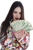 She holds the money Royalty Free Stock Photo