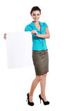 Holds out a big blank card Royalty Free Stock Photography
