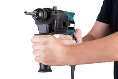 Holds rotary hammer Stock Images