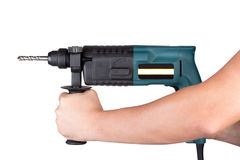 Holds rotary hammer Royalty Free Stock Image