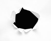 Hole. In a sheet of paper Royalty Free Stock Image