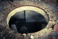 Hole. In abandoned industrial building Royalty Free Stock Photo